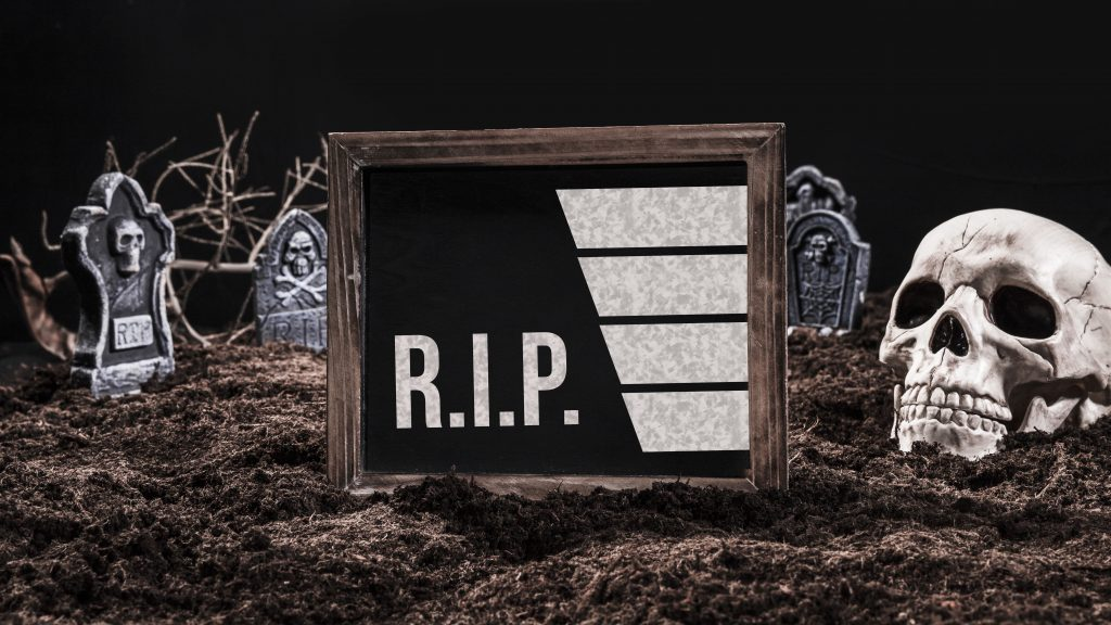 Is the marketing funnel really dead? A tombstone with skulls representing the death of the funnel.