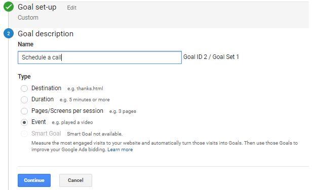 Google Analytics set up Event as Goal