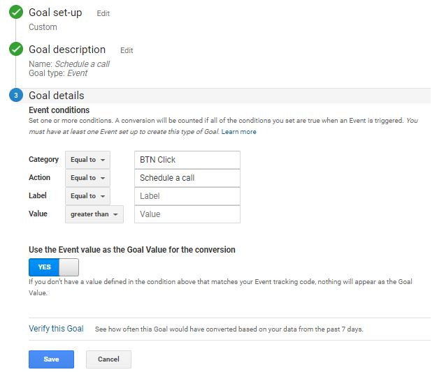 Google analytics Goal CAtegory and Action set up