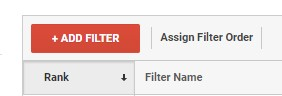Picture of an ADD filter button in Google Analytics View settings panel