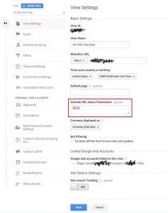 Google Analytics View settings excluding URL parameters
