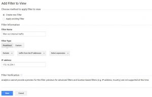 Google Analytics setup panel showing how to create filters for internal IP traffic