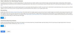 Google Analytics dashboard for turning on Data Collection for Advertising Features