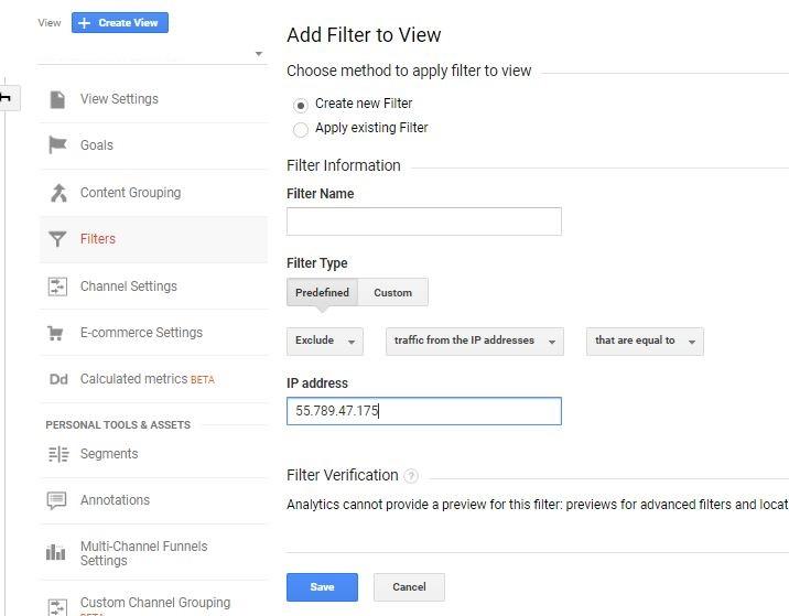 Google Analytics set up IP Filter
