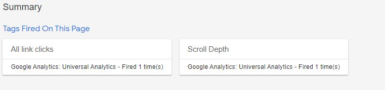 Google Tag Manager Fired Tags Preview