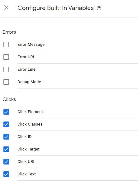 Google Tag Manager Built In Variables