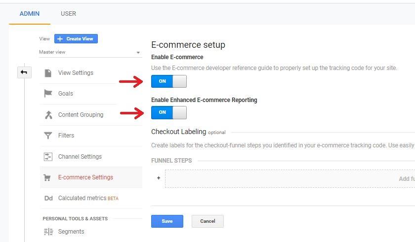 Google Analytics Enhanced E-commerce Settings