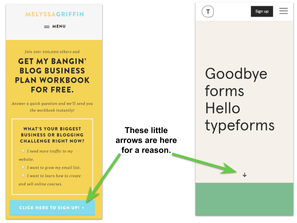 examples to show visual cues maximise landing page cro
