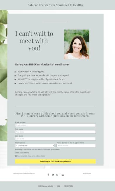 example of a landing page which offers free consultation following the reciprocity principle