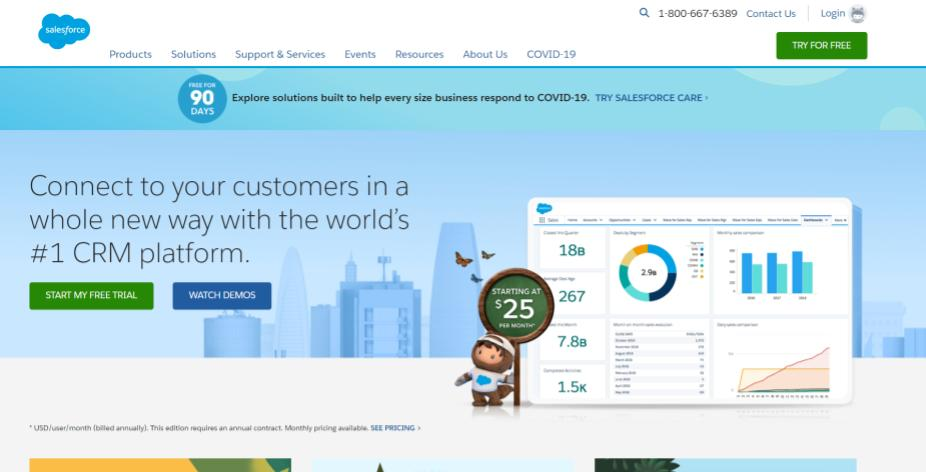example of a landing page which offers free trial following the reciprocity principle
