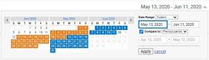 Date range Google Analytics