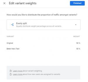 Edit Google Optimize experiment weight