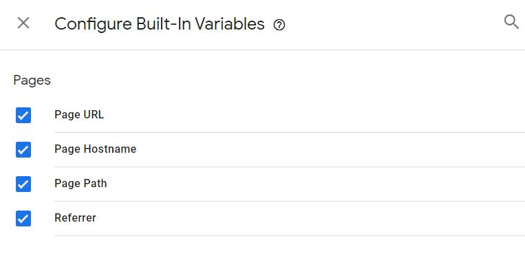 Enable built in Variable Google Tag Manager