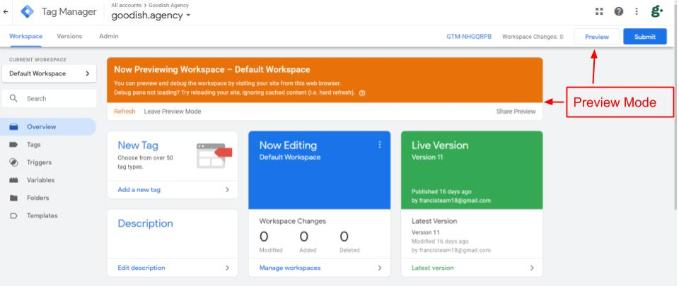 Preview Mode Google Tag Manager
