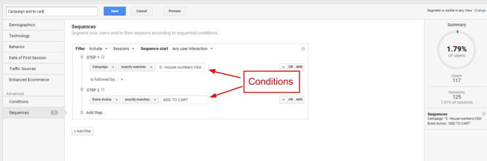 Sequences Google Analyitics